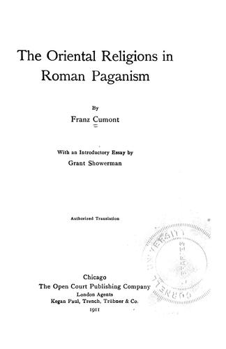Download The oriental religions in Roman paganism