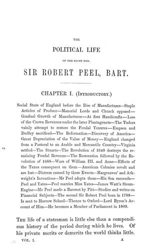 The political life of the Right Honourable Sir Robert Peel, bart. …
